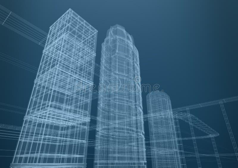 城市概念塑造摩天大楼 向量例证