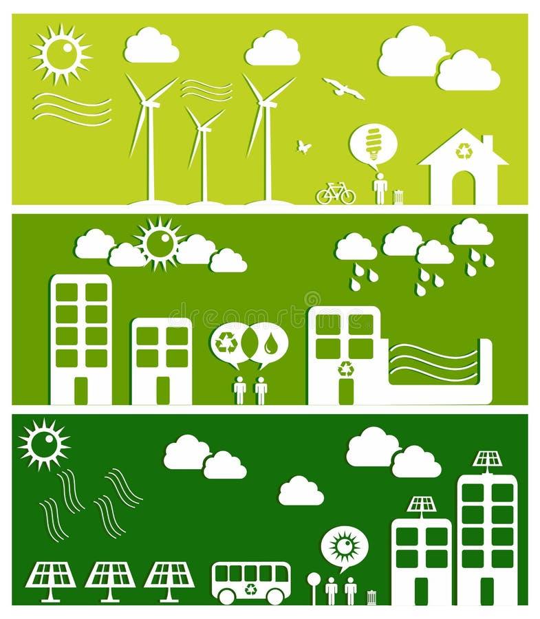 城市概念绿色例证 向量例证