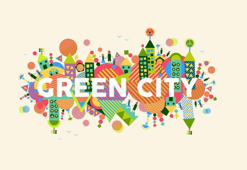 城市概念绿色例证 皇族释放例证