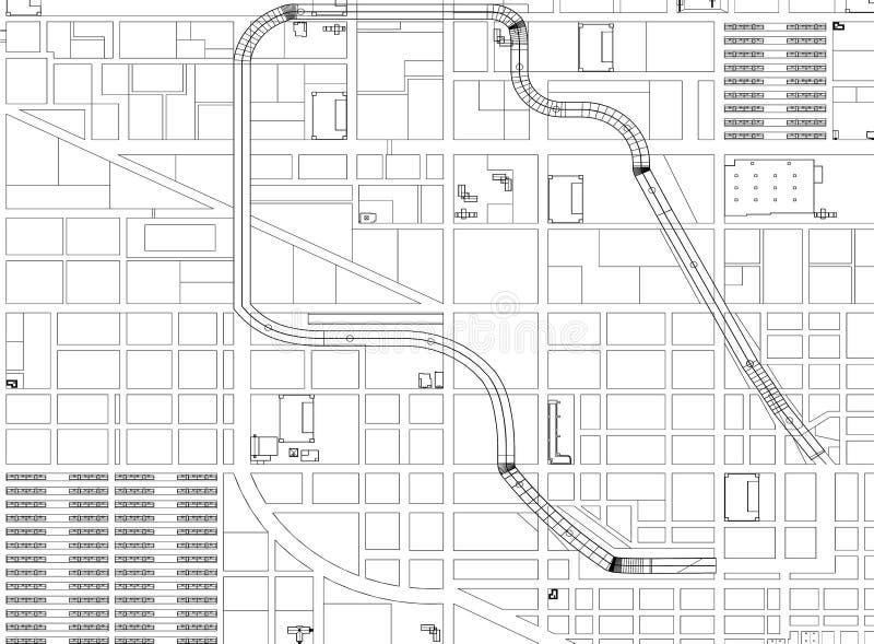城市概念-被隔绝的建筑师图纸 向量例证