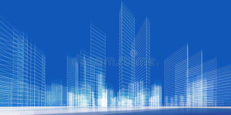 城市概念3d 皇族释放例证