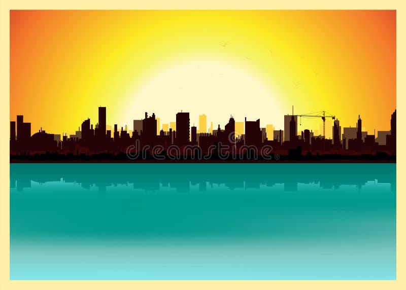 城市横向日落 库存例证