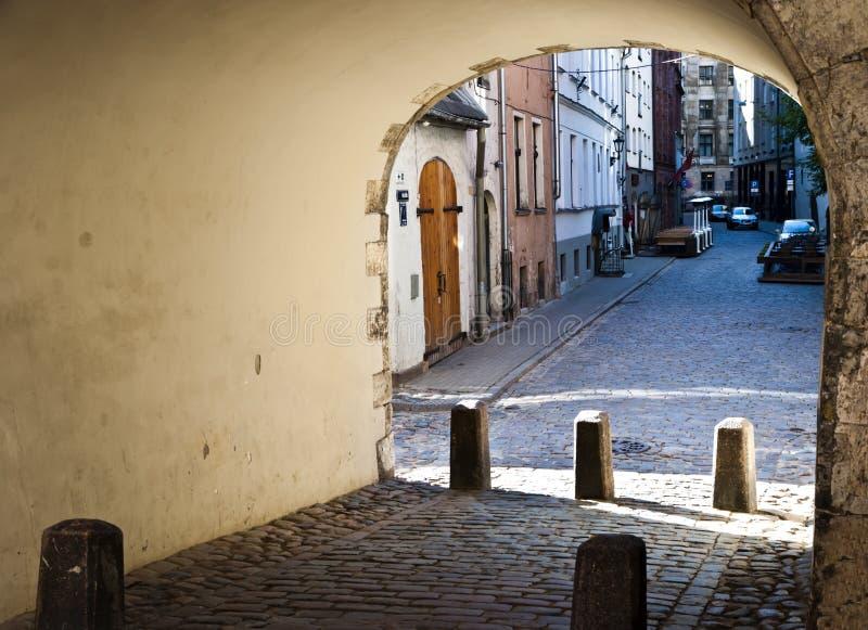 城市欧洲拉脱维亚老里加视图 库存图片