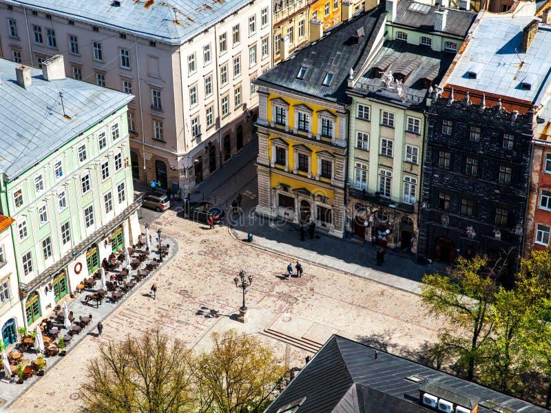 城市欧洲老 市的全景利沃夫州 免版税库存图片