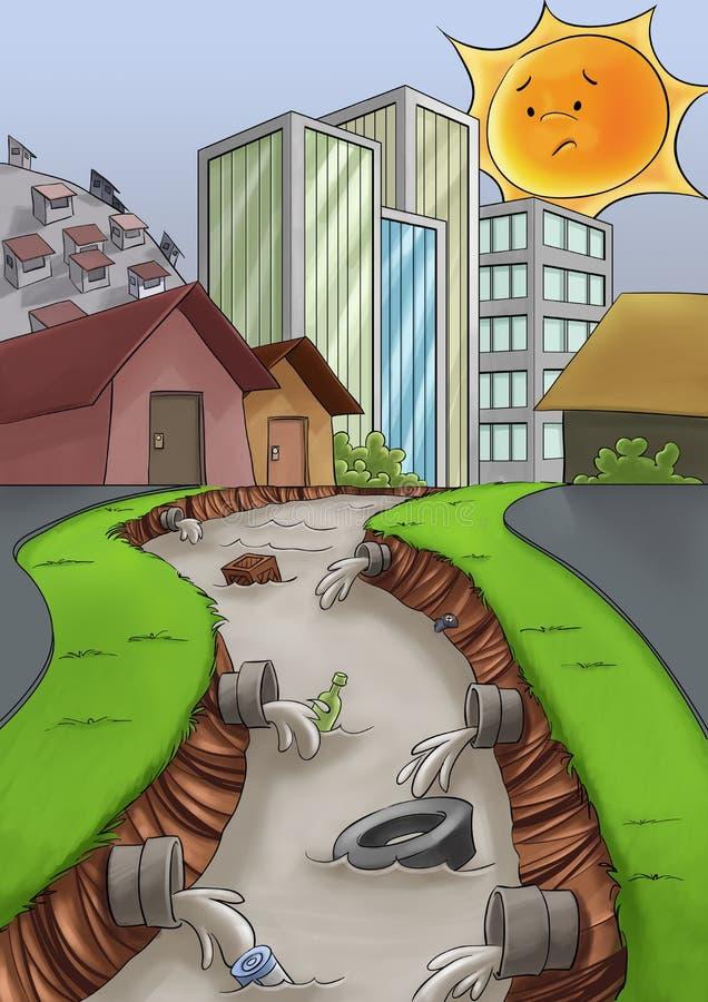 城市污染 向量例证