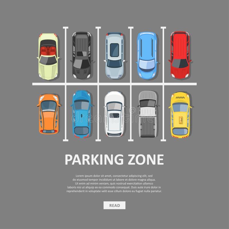 城市汽车停车处在平的样式的传染媒介例证 库存例证