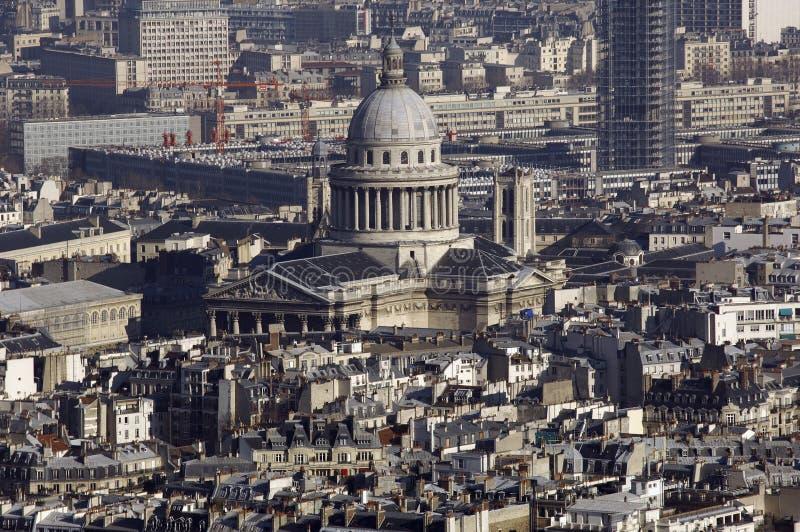 城市法国万神殿巴黎天空视图 库存图片