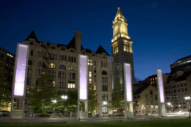 城市波士顿夜场面 库存照片