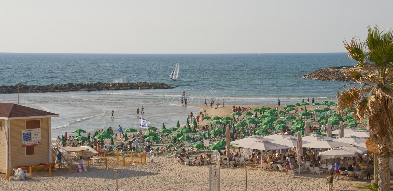 城市海滩在市特拉唯夫以色列 库存照片