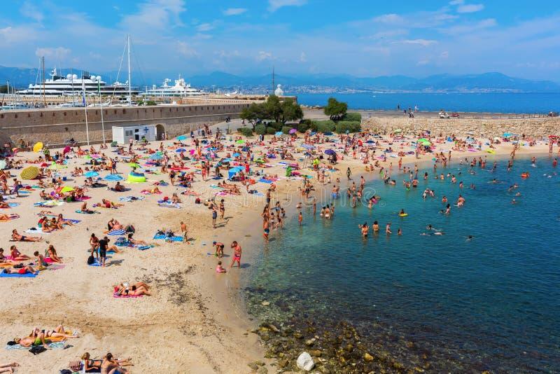 城市海滩安地比斯,彻特Azur,法国 库存照片