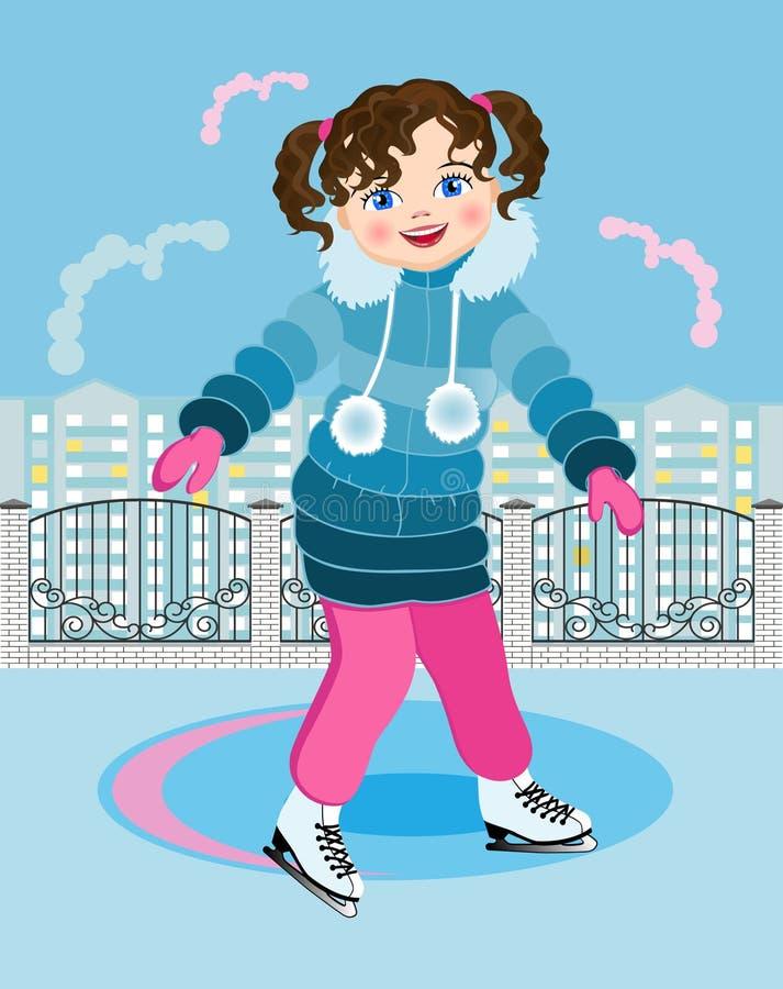 城市溜冰场的小女孩 库存例证