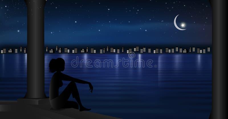 城市点燃在水夜场面风景满天星斗的天空的反射与做愿望女孩剪影的月亮 向量例证