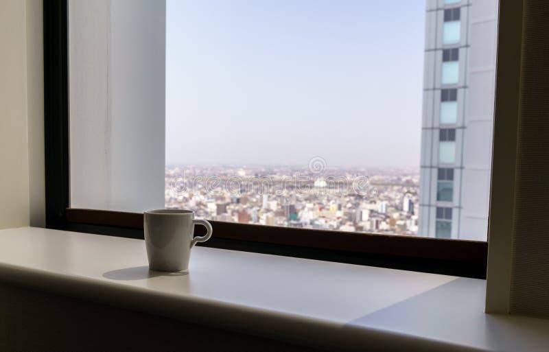 城市热咖啡概念及背景复制空间 库存照片