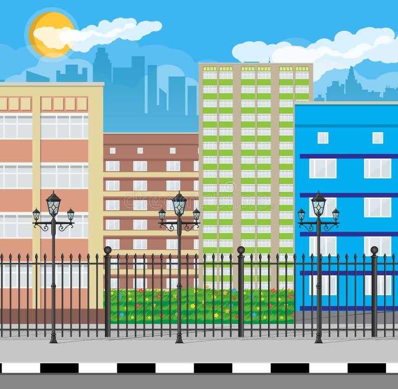 城市现代视图 与篱芭和灯的都市风景 皇族释放例证
