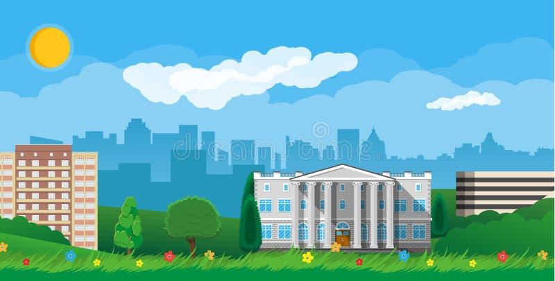 城市现代视图 都市风景和公园 皇族释放例证
