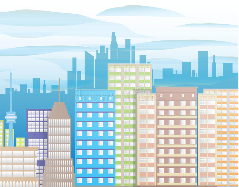 城市现代视图 都市风景 库存例证