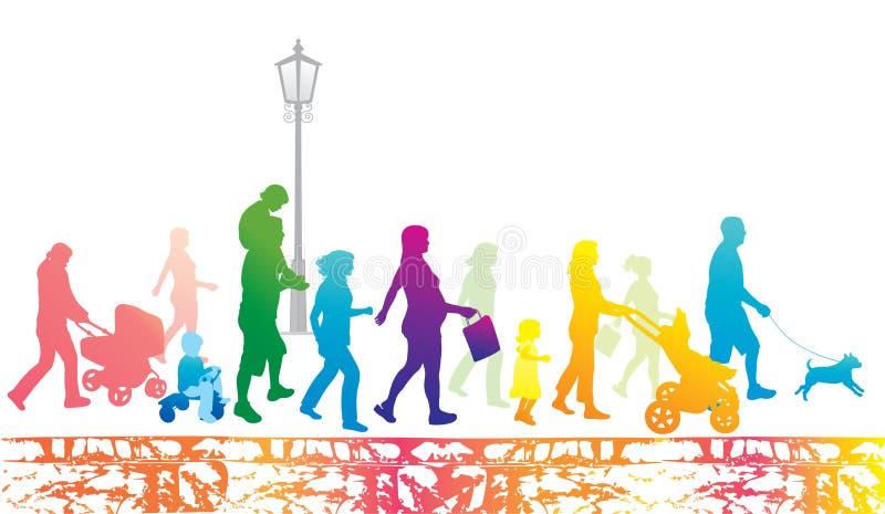 城市生活方式人场面都市走 向量例证
