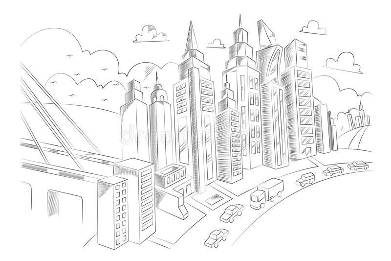 城市生活手图画  向量例证