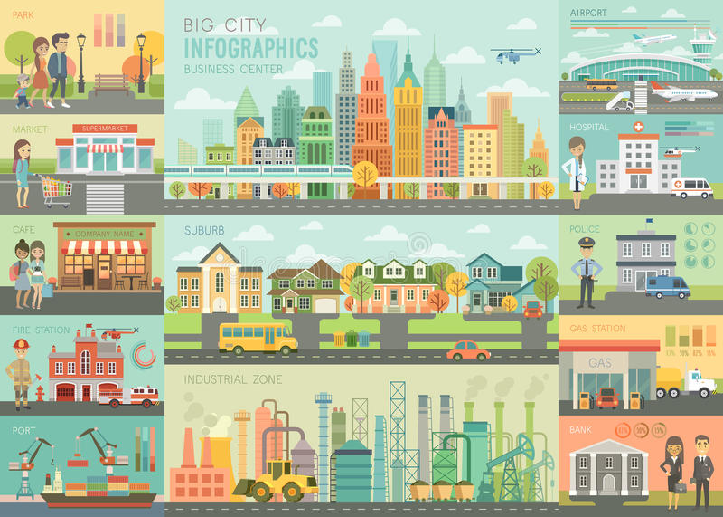 城市生活Infographic设置了与图和其他元素 向量例证