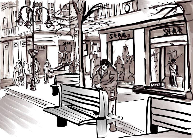 城市由步行街道生活大镇的剪影传染媒介 库存例证