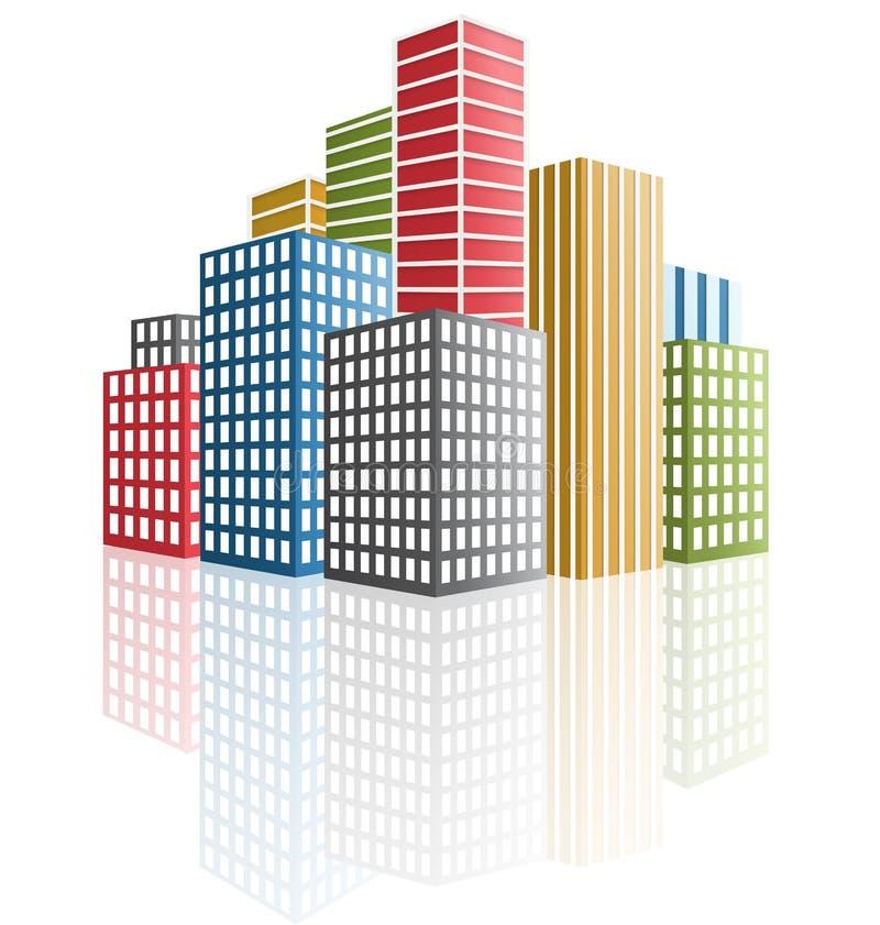 城市的全景。摩天大楼 库存例证