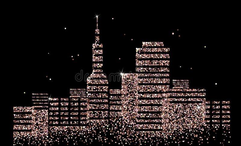 城市的全景在晚上 都市风景 皇族释放例证