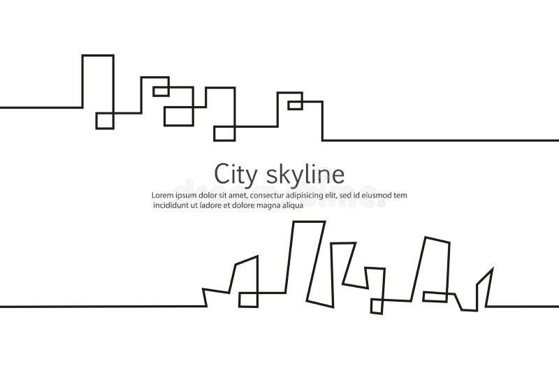 城市的剪影一个平的样式的 横向现代都市 下载例证图象准备好的向量 建立办公室的城市摩天大楼 向量例证