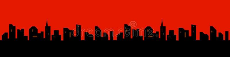 城市的剪影一个平的样式的 横向现代都市 也corel凹道例证向量 向量例证
