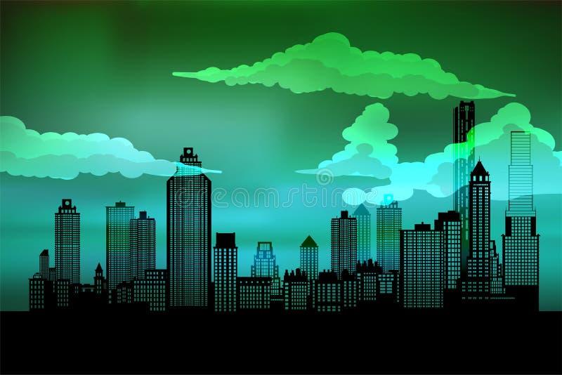 城市的剪影 都市风景背景 都市的横向 对横幅或模板 有层数的现代城市 向量例证