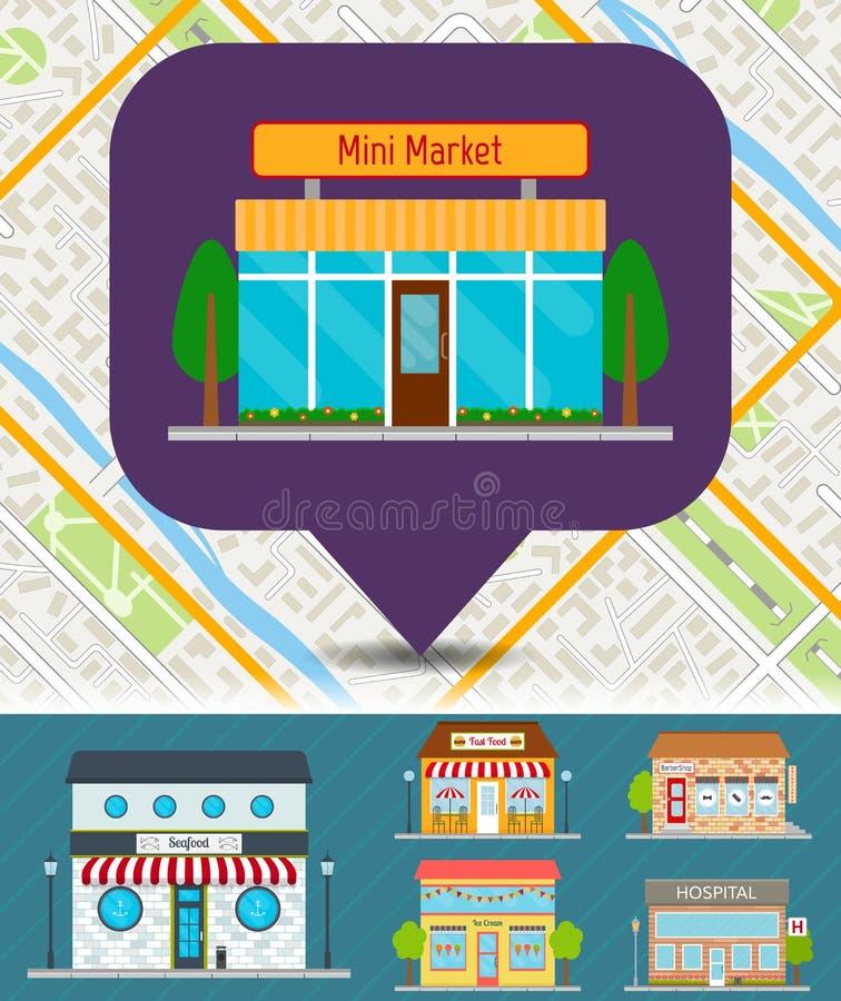 城市的套商店和商店映射 皇族释放例证