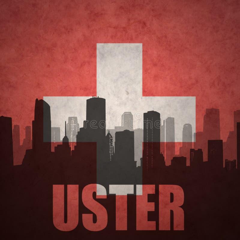 城市的抽象剪影有文本的乌斯特市在葡萄酒瑞士人旗子 免版税图库摄影