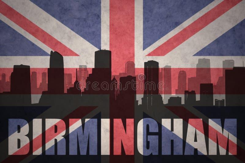 城市的抽象剪影有文本的伯明翰在葡萄酒英国旗子 库存例证