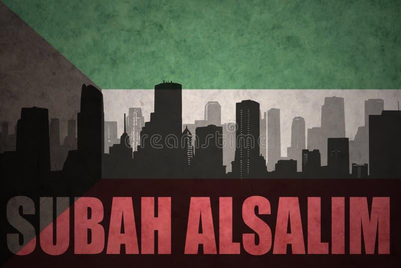 城市的抽象剪影有文本的在葡萄酒科威特旗子的Subah Alsalim 向量例证