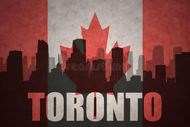 城市的抽象剪影有文本的多伦多在葡萄酒加拿大人旗子 向量例证