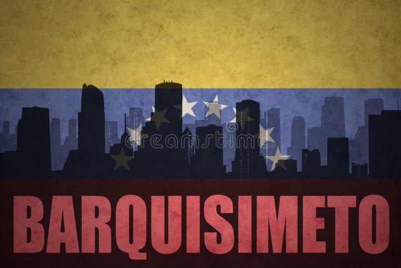城市的抽象剪影有文本的巴基西梅托在葡萄酒委内瑞拉人旗子 皇族释放例证