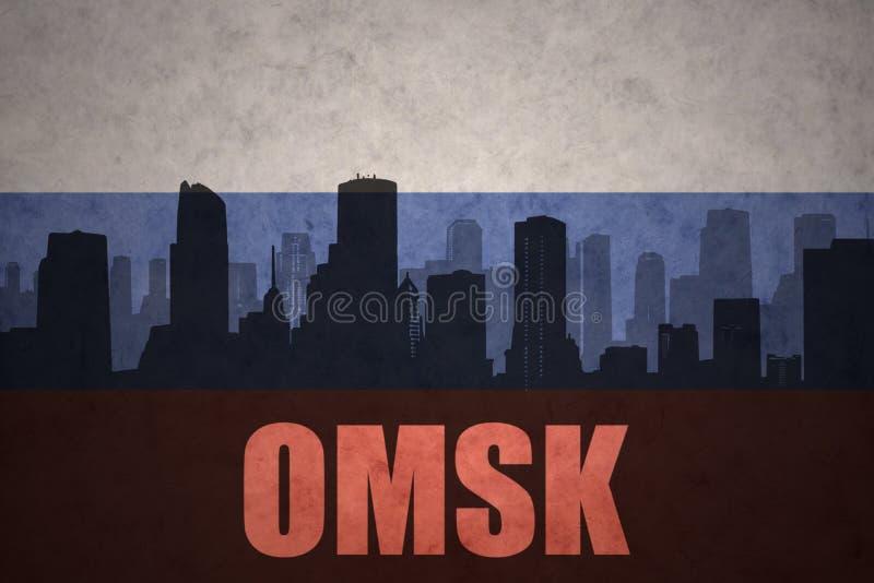 城市的抽象剪影有文本的鄂木斯克在葡萄酒俄国人旗子 库存图片