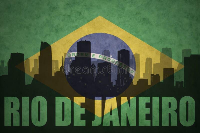 城市的抽象剪影有文本的里约热内卢在葡萄酒巴西人旗子 库存例证