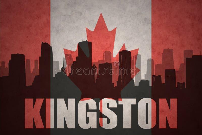 城市的抽象剪影有文本的金斯敦在葡萄酒加拿大人旗子 向量例证
