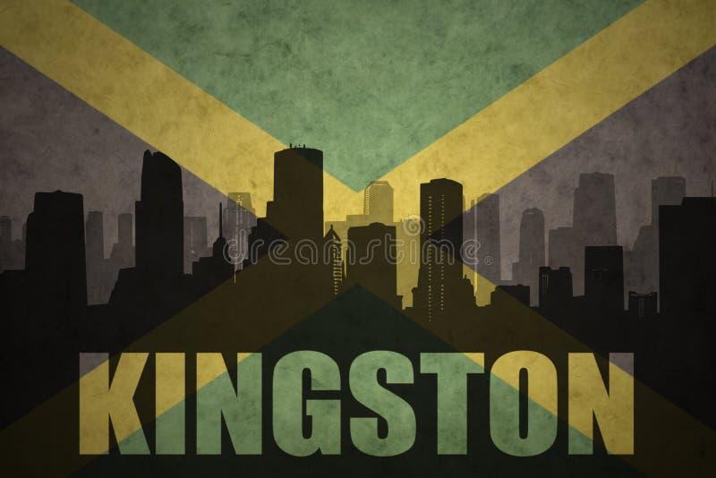 城市的抽象剪影有文本的金斯敦在葡萄酒牙买加旗子 库存例证