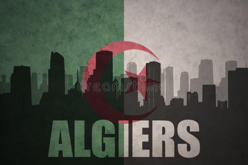 城市的抽象剪影有文本的阿尔及尔在葡萄酒阿尔及利亚人旗子 库存图片