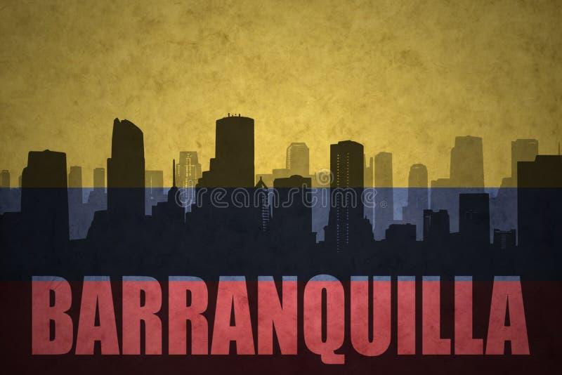 城市的抽象剪影有文本的巴兰基利亚在葡萄酒哥伦比亚的旗子 向量例证