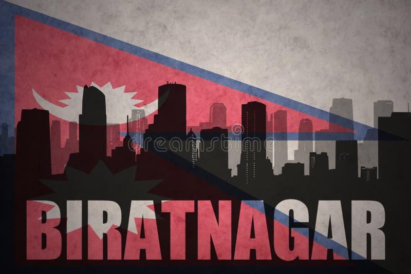 城市的抽象剪影有文本的Biratnagar在葡萄酒尼泊尔旗子 库存照片