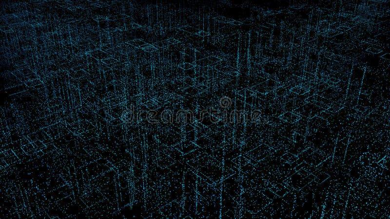 城市的抽象数字式全息图3D例证有未来派矩阵的 与二进制编码微粒网络的数字大厦 库存例证
