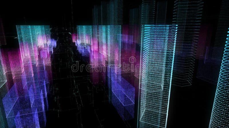 城市的抽象数字式全息图3D例证有未来派矩阵的 皇族释放例证