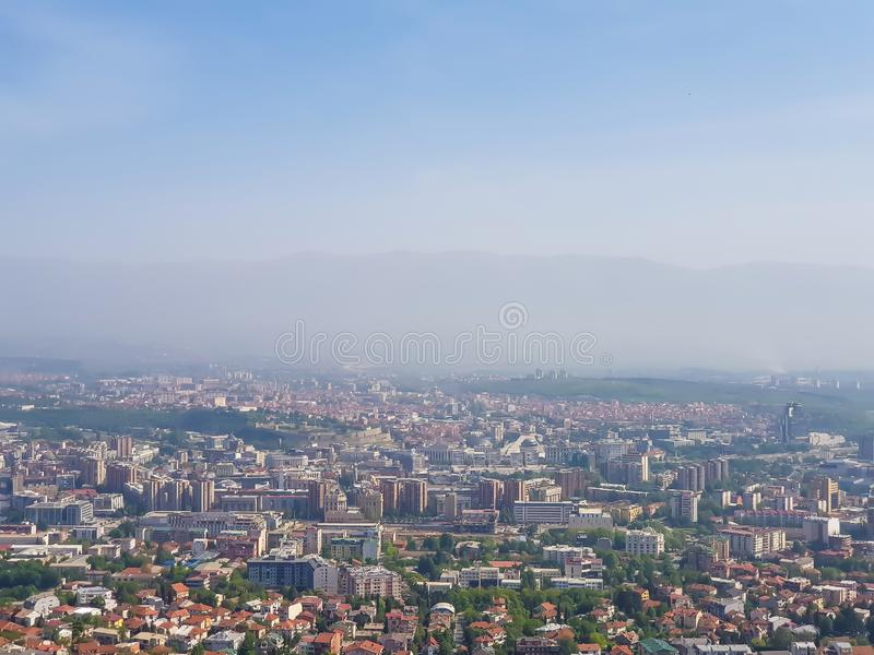 城市的照片从鸟瞰图的 库存图片
