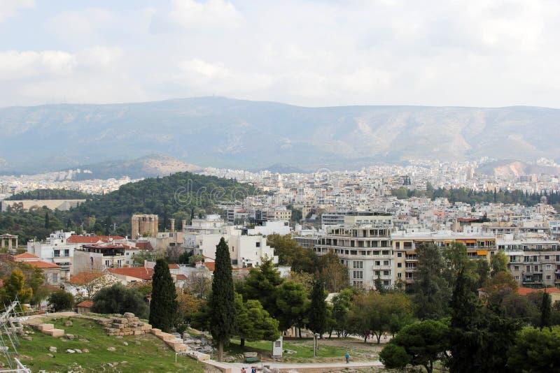 城市的看法在雅典,希腊 免版税库存照片