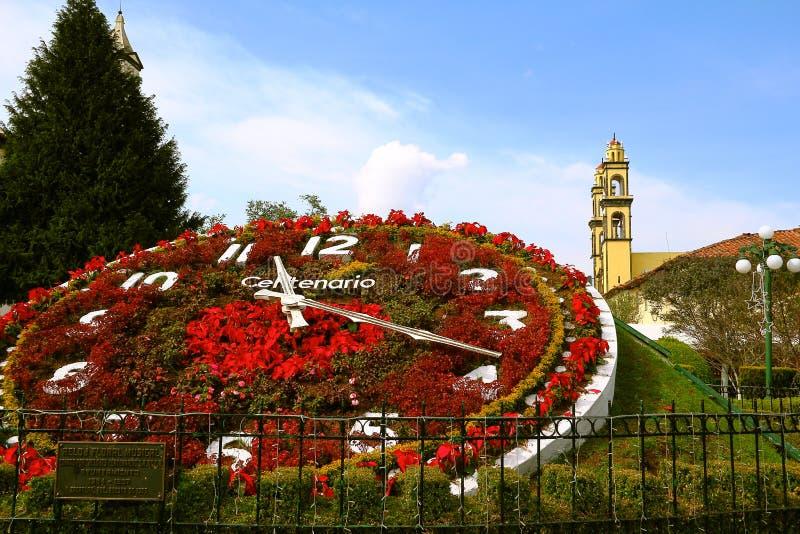 城市的花卉时钟zacatlan 库存照片