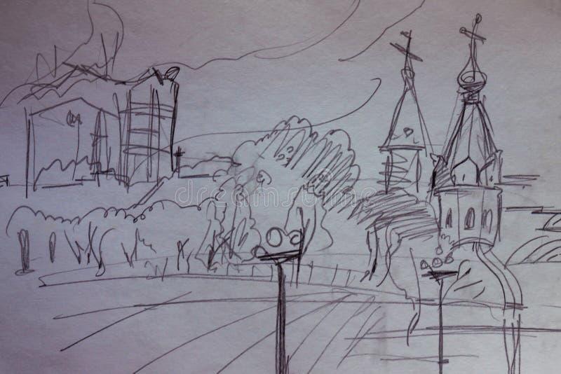 城市的铅笔剪影 图库摄影