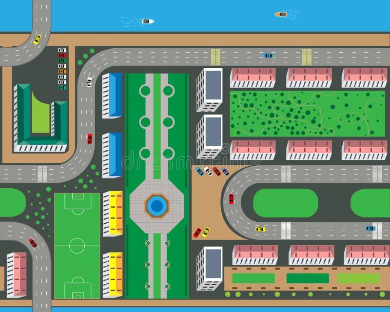 城市的顶视图从街道、路、房子和汽车的 也corel凹道例证向量 库存例证