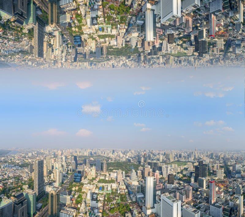 城市的高看法有倒置边的 免版税库存图片